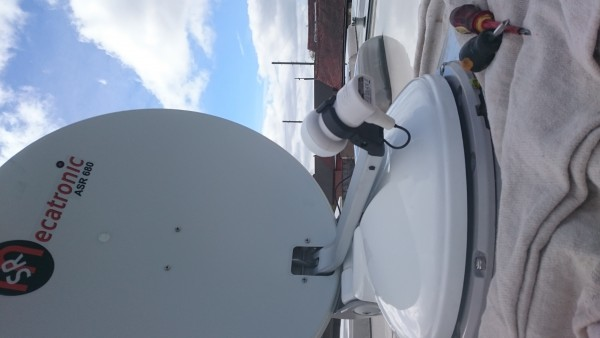 Dish Installed Testing Before Mounting on roof