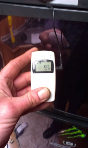 Original Temperature in freezer after being on for 2 days