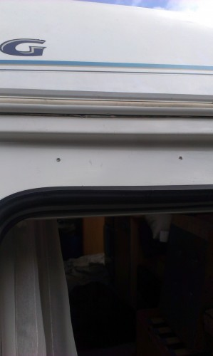 Old Sealant removed from caravan & rail ready & prepared for new seal.